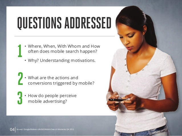 QuestionsAddressed 04 1 • Where, When, With Whom and How  often does mobile search happen? • Why? Understanding motivat...