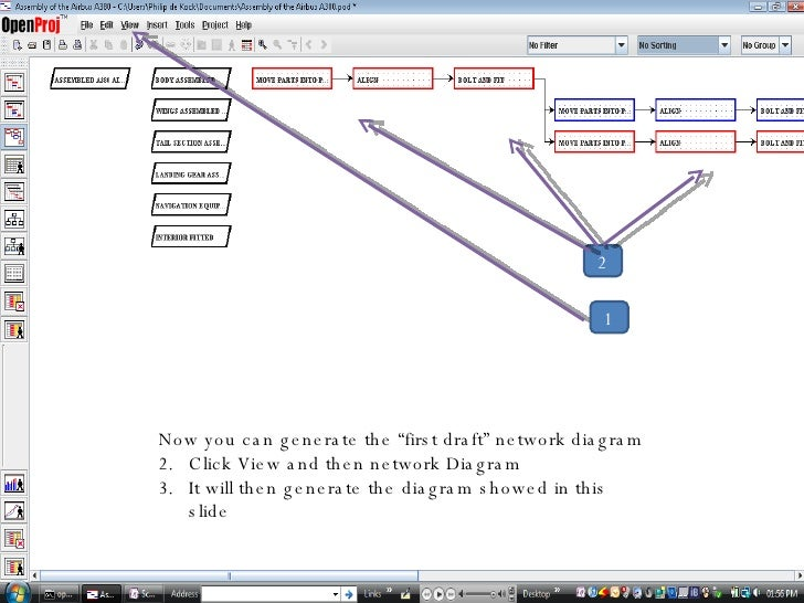 Creating the Network Diagram and Gantt With OpenProj
