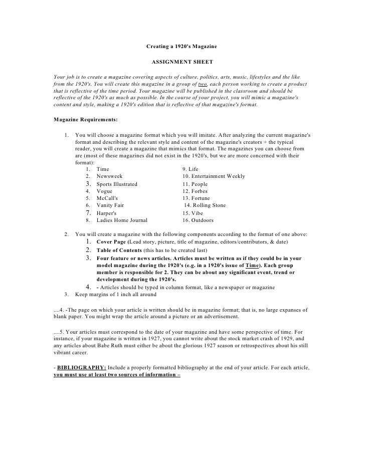 Creating a 1920's Magazine                                            ASSIGNMENT SHEET  Your job is to create a magazine c...