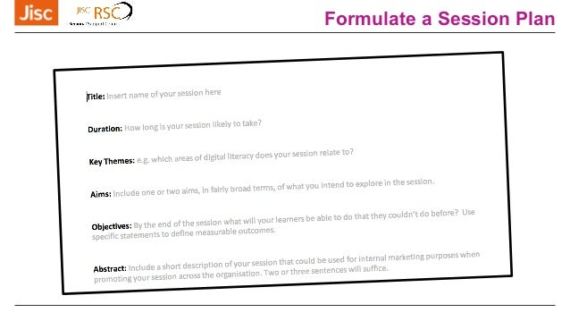Formulate a Session Plan