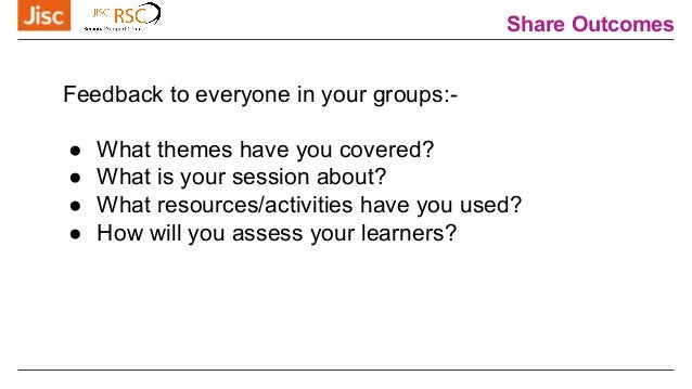 Share Outcomes Feedback to everyone in your groups:- ● What themes have you covered? ● What is your session about? ● Wh...