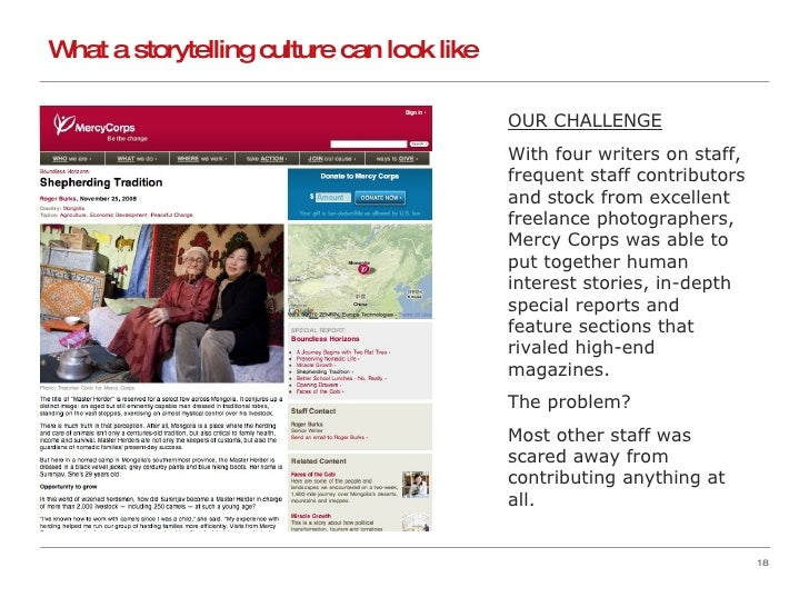 What a storytelling culture can look like OUR CHALLENGE With four writers on staff, frequent staff contributors and stock ...