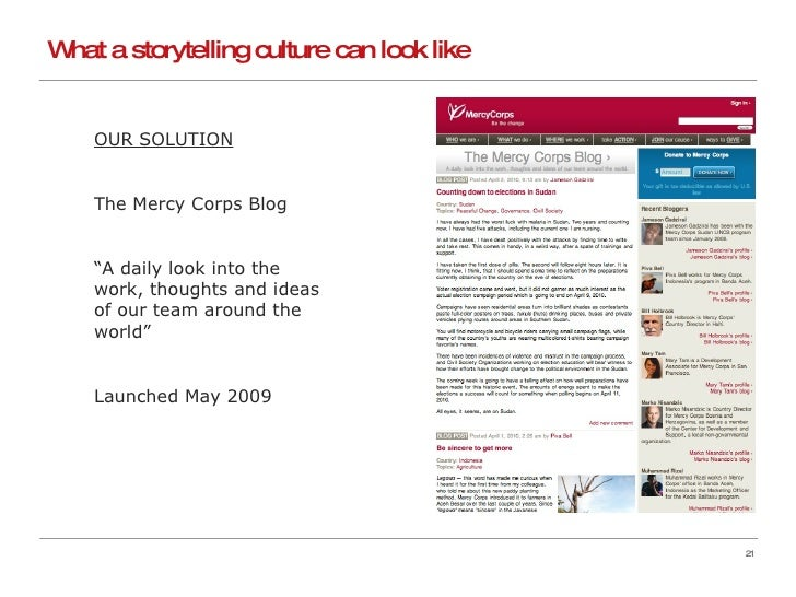 """What a storytelling culture can look like OUR SOLUTION The Mercy Corps Blog """" A daily look into the work, thoughts and ide..."""