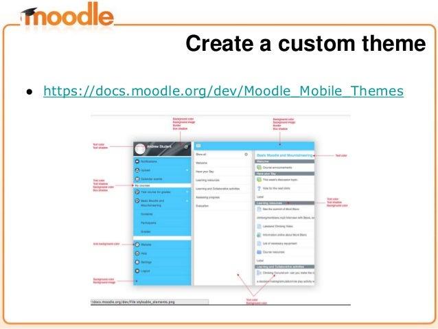 ● https://docs.moodle.org/dev/Moodle_Mobile_Themes Create a custom theme