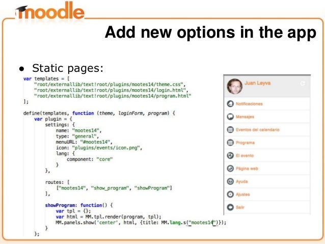 ● Static pages: Add new options in the app