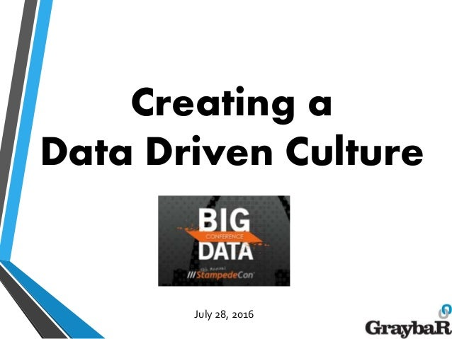 Creating a Data Driven Culture July 28, 2016