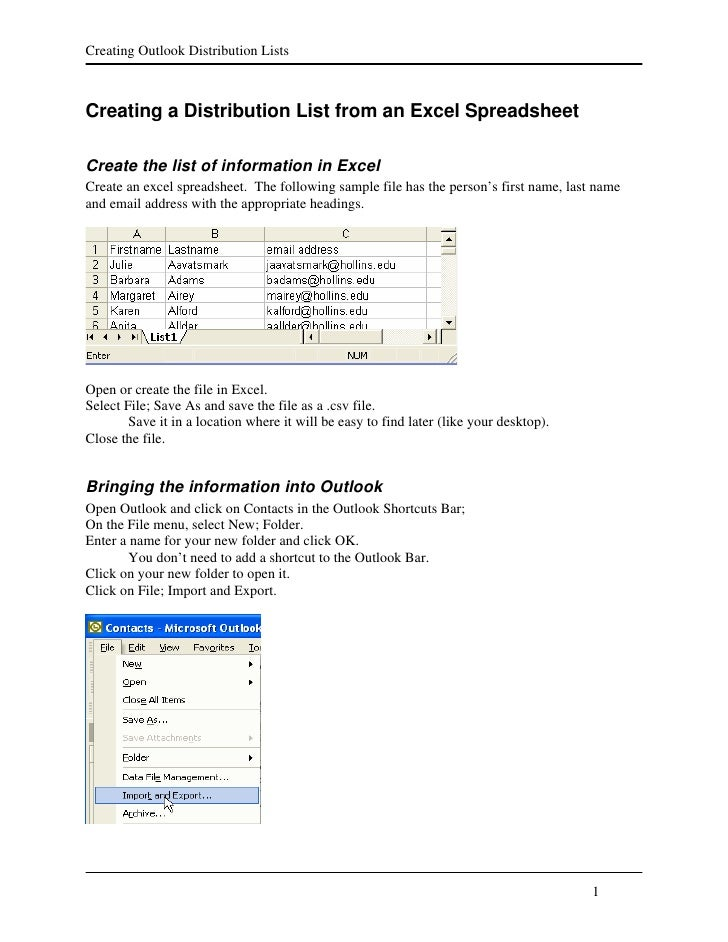 Creating Outlook Distribution Lists    Creating a Distribution List from an Excel Spreadsheet  Create the list of informat...