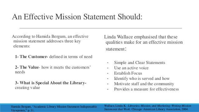 Qualities of good mission statement