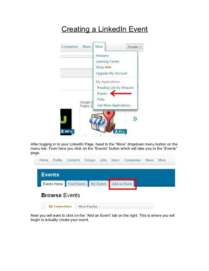 """Creating a LinkedIn EventAfter logging in to your LinkedIn Page, head to the """"More"""" dropdown menu button on themenu bar. F..."""