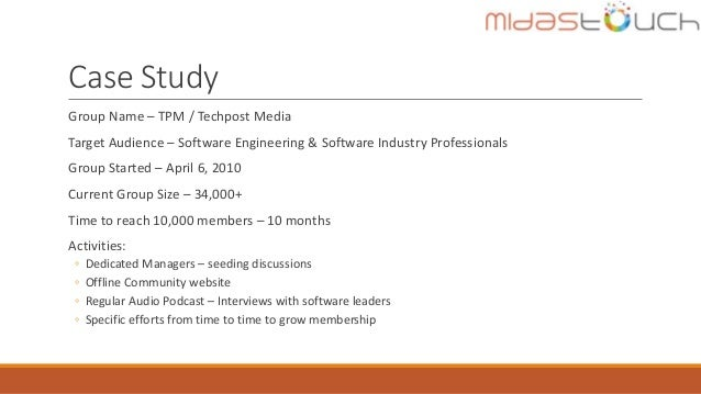 Case Study Group Name – TPM / Techpost Media Target Audience – Software Engineering & Software Industry Professionals Grou...