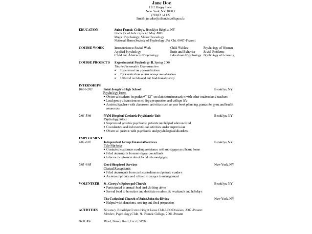 Nice Sample Resumes; 11.  Psychology Major Resume