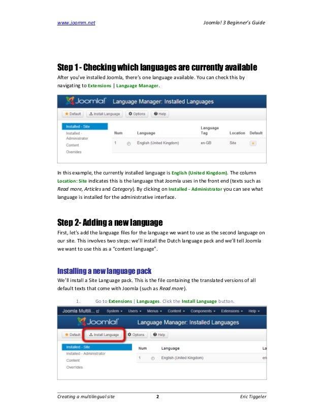 Creating a multilingual site in Joomla 3 (Joomla 3 Beginner's Guide) Slide 2
