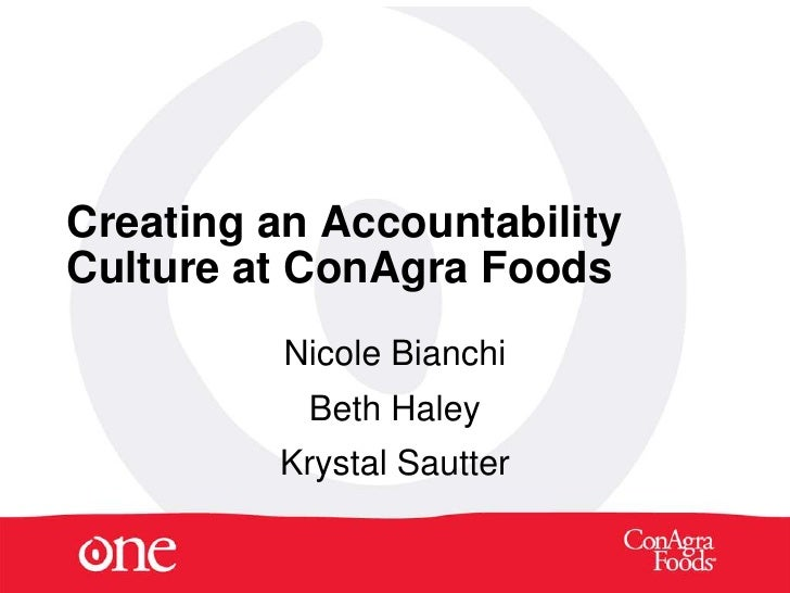 Creating an Accountability Culture at ConAgra Foods           Nicole Bianchi            Beth Haley          Krystal Sautter