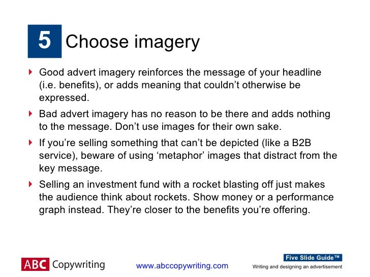 Writing and designing an advertisement : Five Slide Guide™