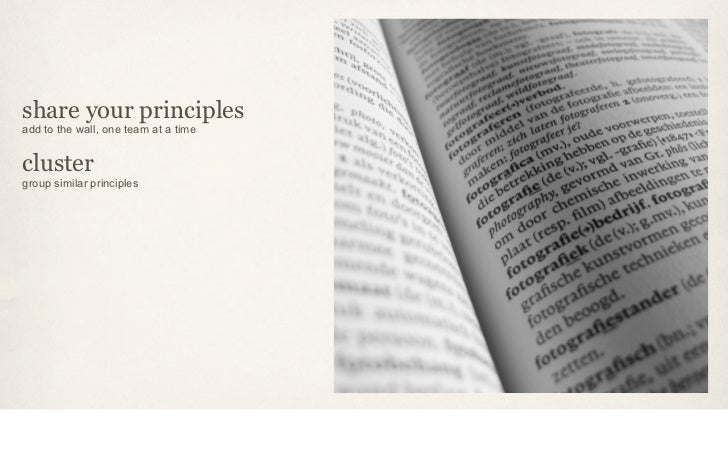 share your principlesadd to the wall, one team at a timeclustergroup similar principles