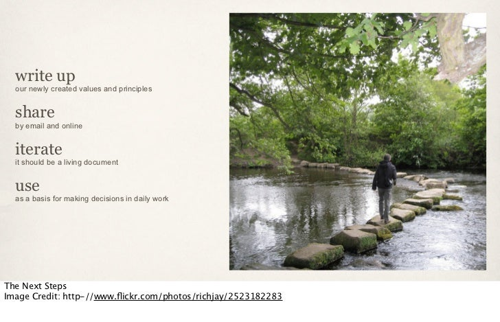 write up  our newly created values and principles  share  by email and online  iterate  it should be a living document  us...