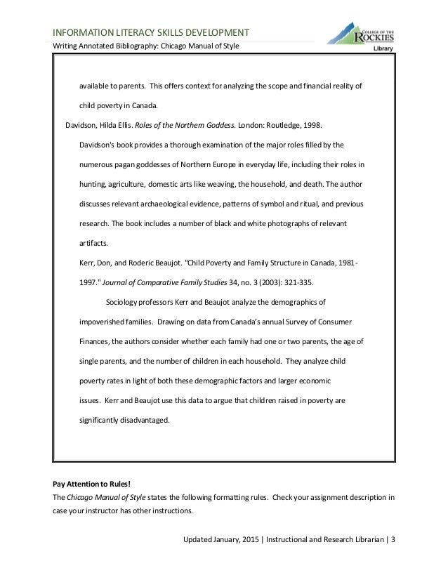 chicago style annotated bibliography format