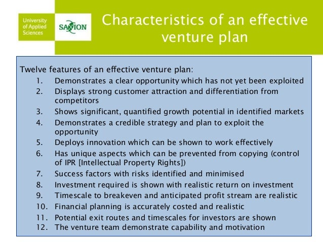 features of business plan in entrepreneurship