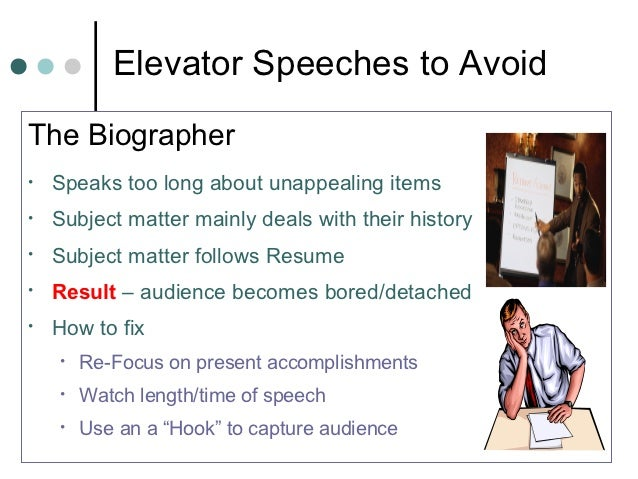Elevator Speeches to AvoidThe Biographer•   Speaks too long about unappealing items•   Subject matter mainly deals with th...