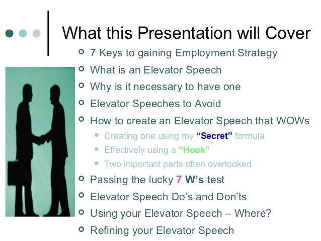 Creating an elevator speech