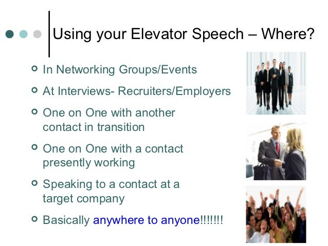 Using your Elevator Speech – Where?   In Networking Groups/Events   At Interviews- Recruiters/Employers   One on One wi...