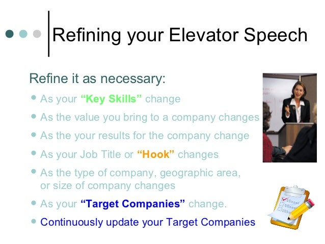 """Refining your Elevator SpeechRefine it as necessary: As   your """"Key Skills"""" change As   the value you bring to a company..."""