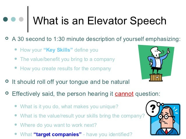 Written elevator speech examples for 30 second pitch template