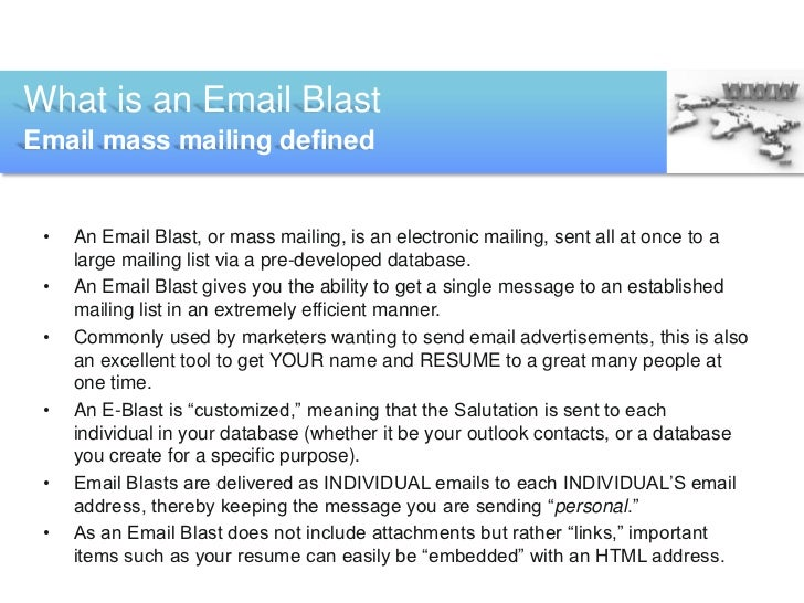 creating an email blast for standard presentation