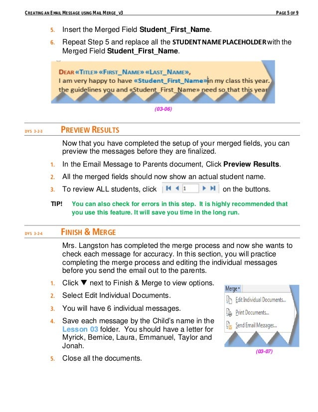 Creating an email message using mail merge 5 creating an email message using mail stopboris Choice Image