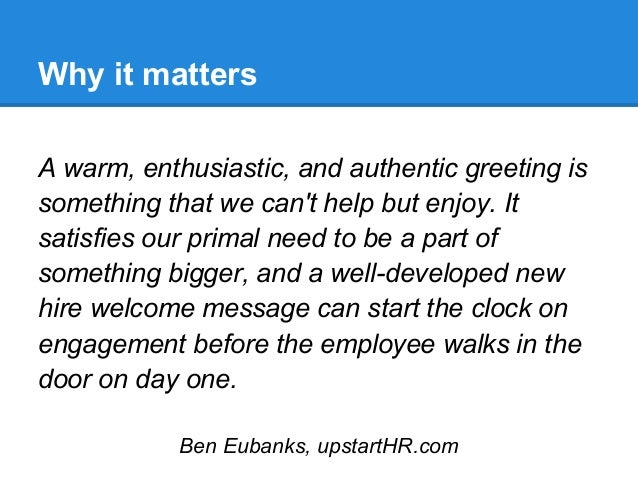 Create A New Hire Welcome Message To Inspire Enthusiasm