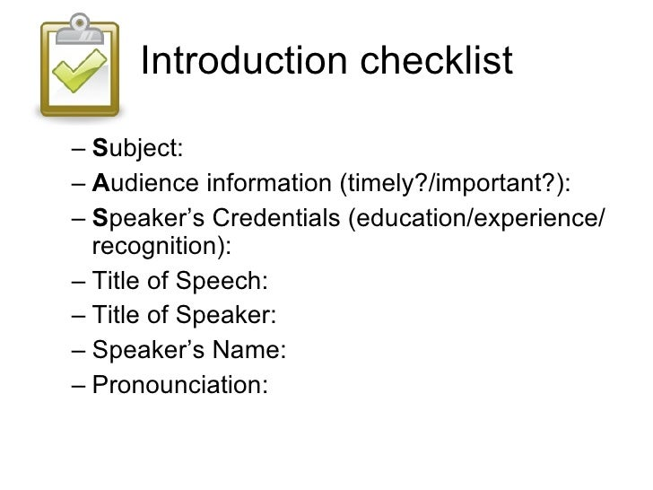 Introducing a speaker introduction checklist thecheapjerseys Choice Image