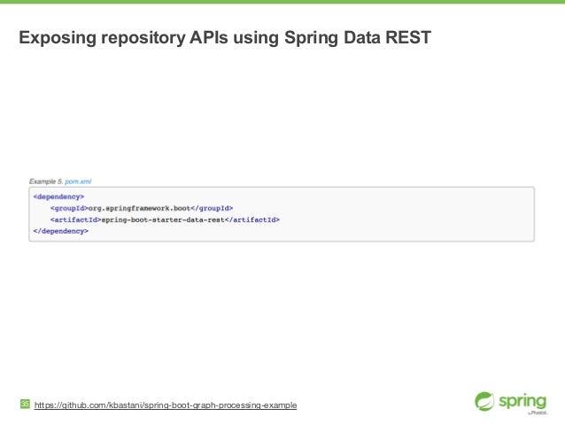 Exposing repository APIs using Spring Data REST 35 https://github.com/kbastani/spring-boot-graph-processing-example