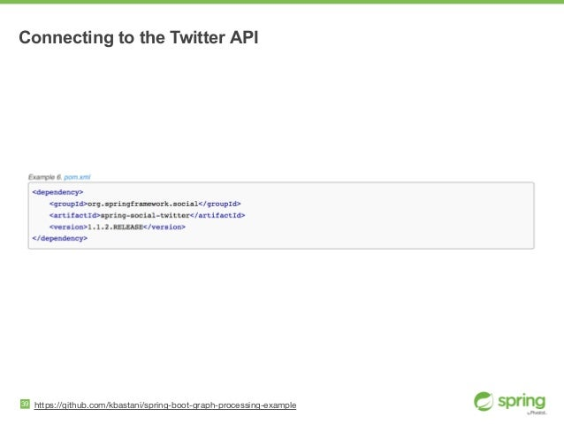 Connecting to the Twitter API 39 https://github.com/kbastani/spring-boot-graph-processing-example