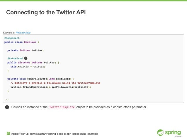 42 https://github.com/kbastani/spring-boot-graph-processing-example Connecting to the Twitter API