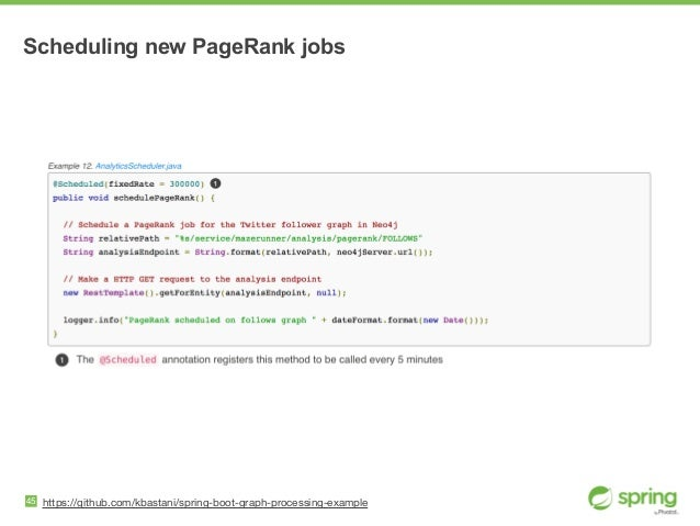 Scheduling new PageRank jobs 45 https://github.com/kbastani/spring-boot-graph-processing-example