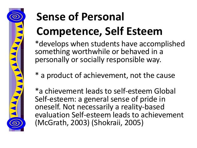 Sense of Personal Competence, Self Esteem *develops when students have accomplished something worthwhile or behaved in a p...