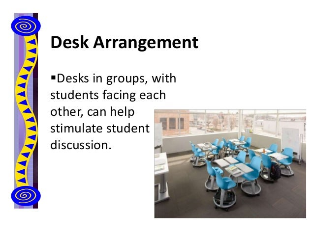 Desk Arrangement Desks in groups, with students facing each other, can help stimulate student discussion.