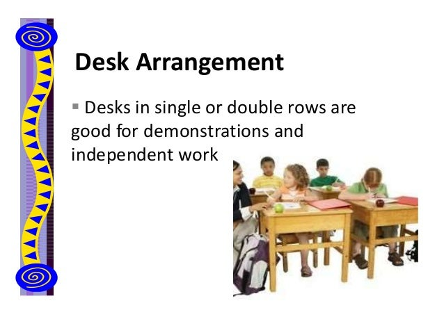 Desk Arrangement  Desks in single or double rows are good for demonstrations and independent work