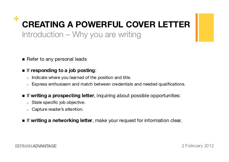 Awesome BERMAN ADVANTAGE 2 February 2012; 20. + CREATING A POWERFUL COVER LETTER ... Throughout Creating A Cover Letter