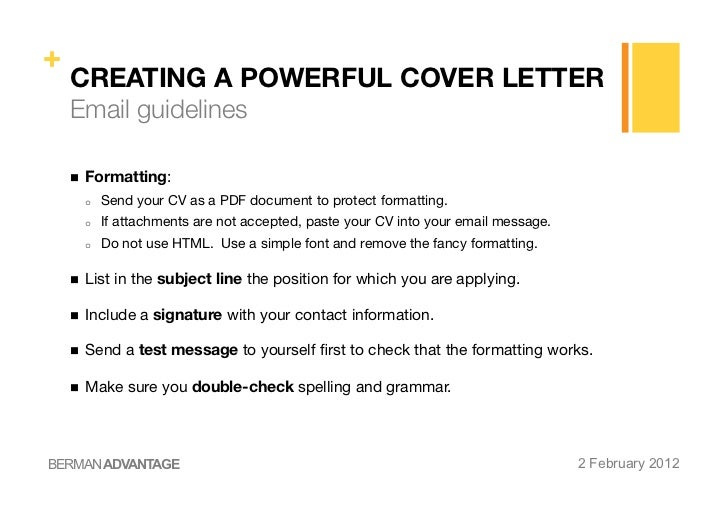 Creating a powerful cv cover letter for How to send a cv and cover letter by email