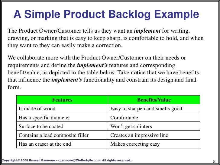 Creating a product backlog 7 8 a simple product backlog example pronofoot35fo Choice Image