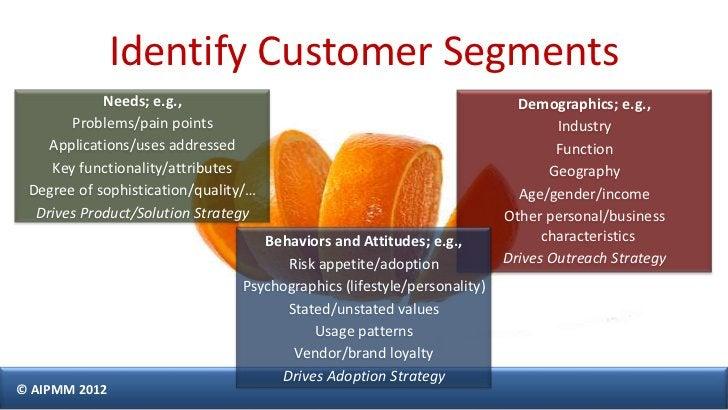 Identify Customer Segments            Needs; e.g.,                                                   Demographics; e.g.,  ...