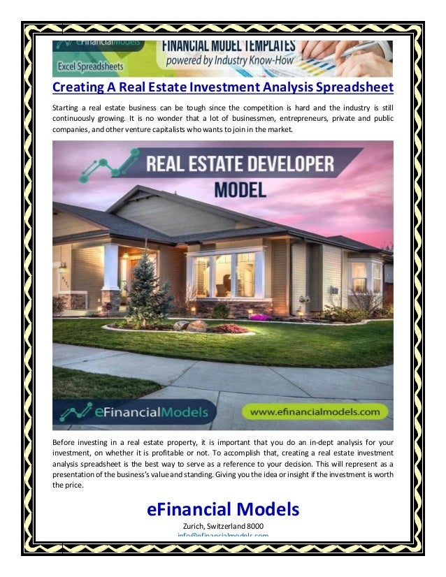Creating A Real Estate Investment Analysis Spreadsheet