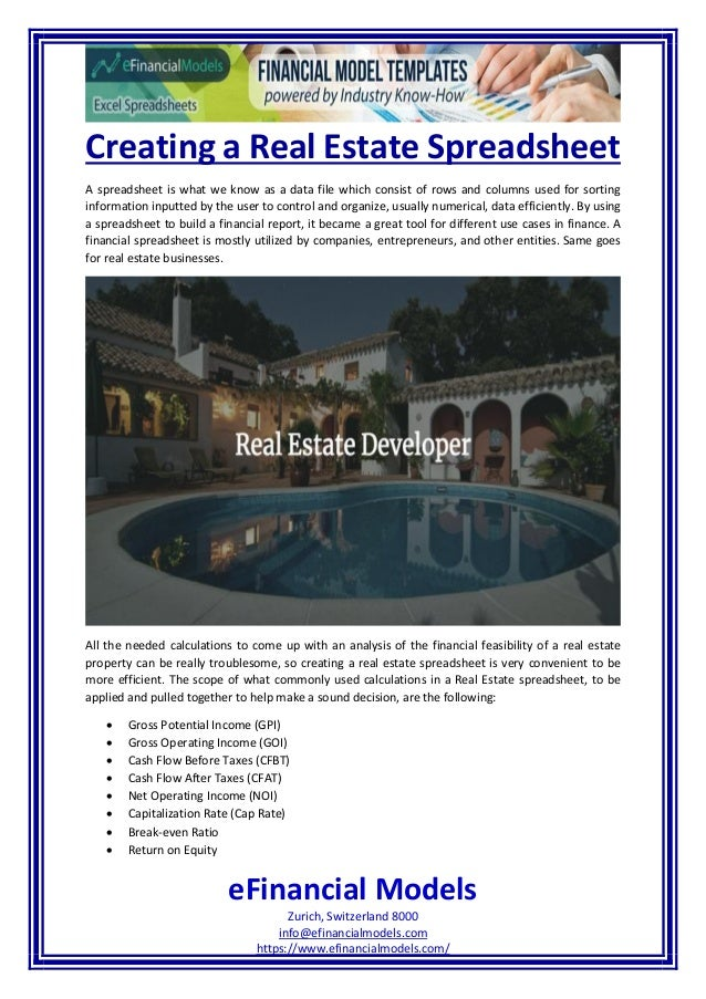 Creating A Real Estate Spreadsheet