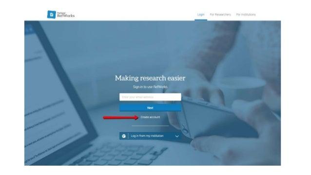 Creating a RefWorks Account Slide 2
