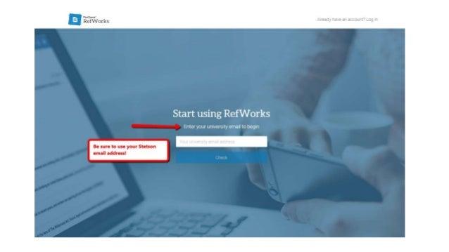 Creating a RefWorks Account Slide 3