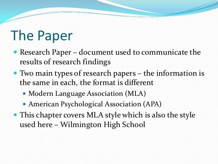 main types of research paper