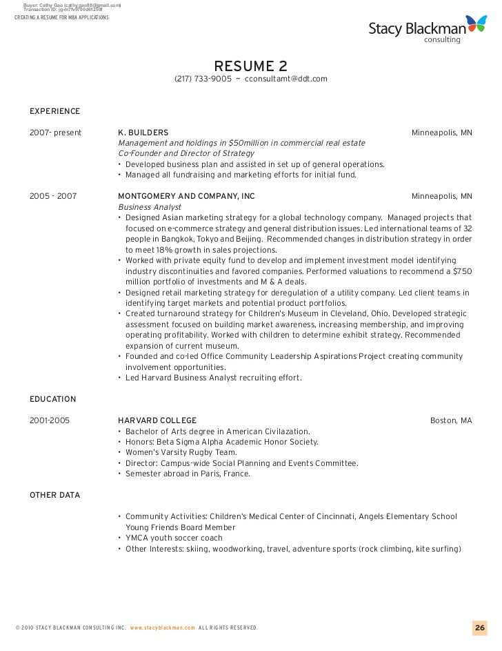 25; 27. CREATING A RESUME FOR MBA APPLICATIONS ...  Mba Application Resume Sample