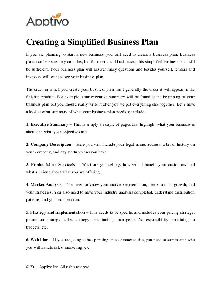 Creating A Simplified Business Plan