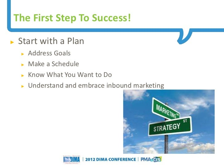 The First Step To Success!►   Start with a Plan    ►   Address Goals    ►   Make a Schedule    ►   Know What You Want to D...